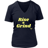 Rise and Grind Ladies V-neck T-shirt - Audio Swag
