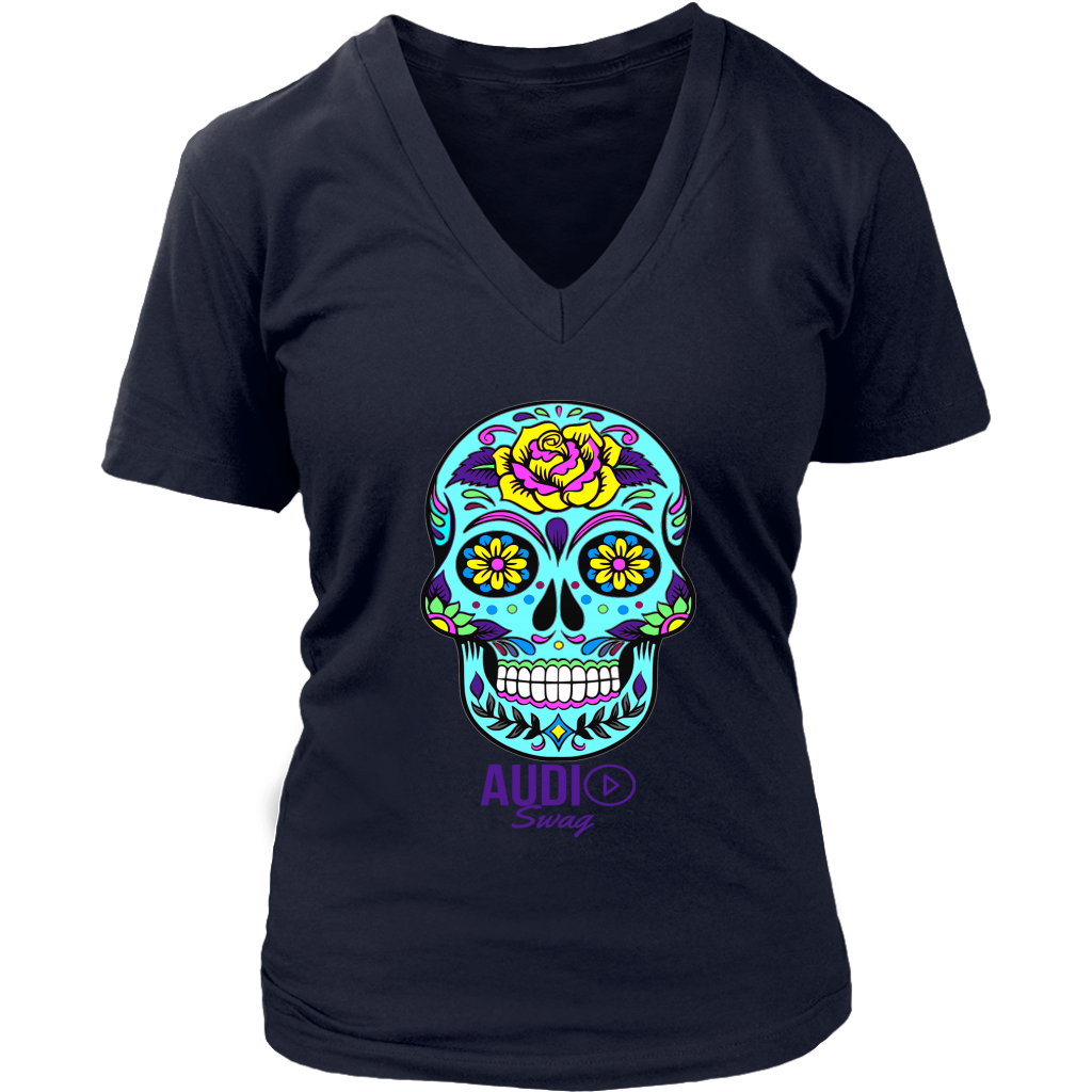 Sugar Skull Rose Ladies V-neck T-shirt - Audio Swag