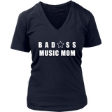 Bad@ss Music Mom Ladies V-Neck Tee - Audio Swag