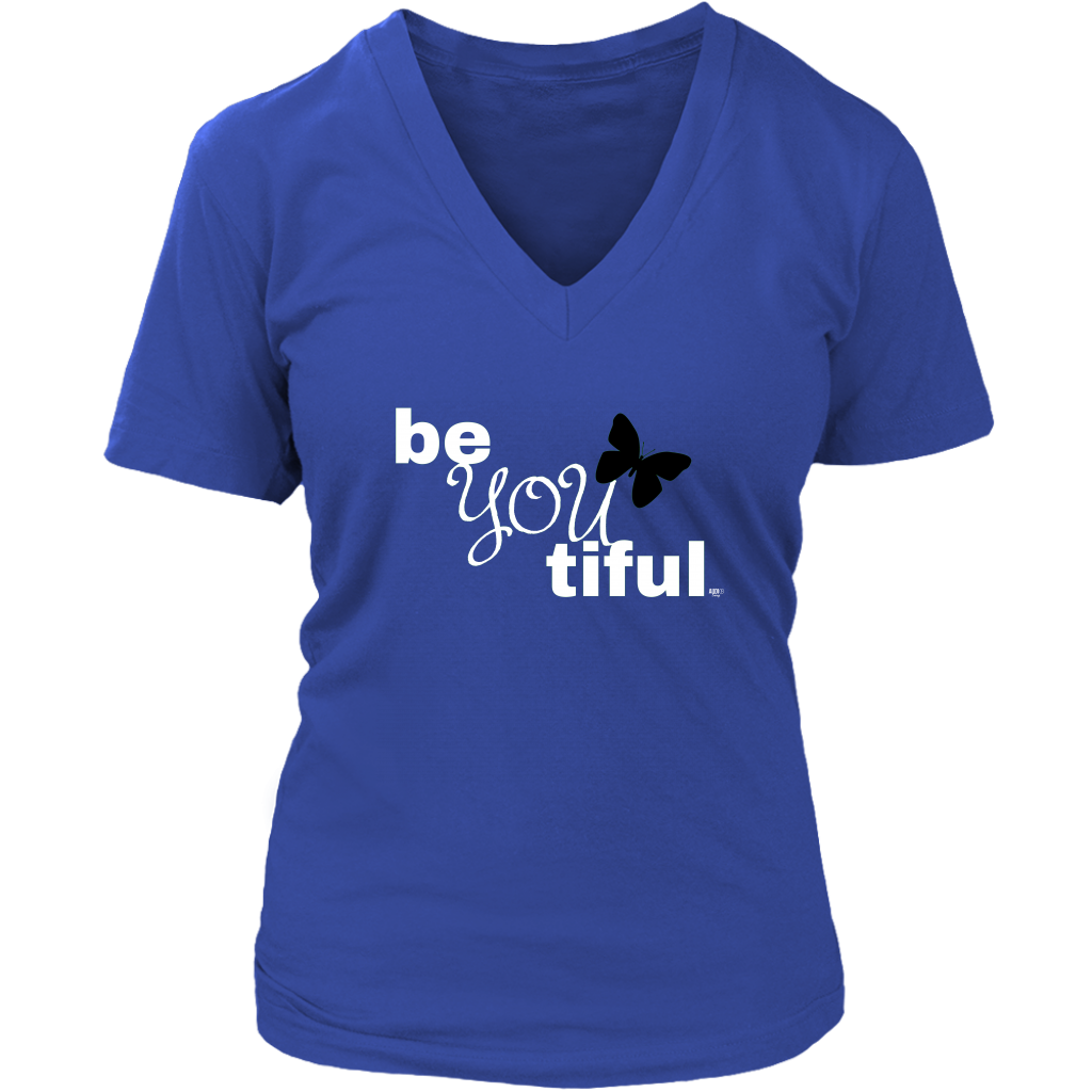 Be(You)tiful Inspirational Ladies V-neck T-shirt - Audio Swag