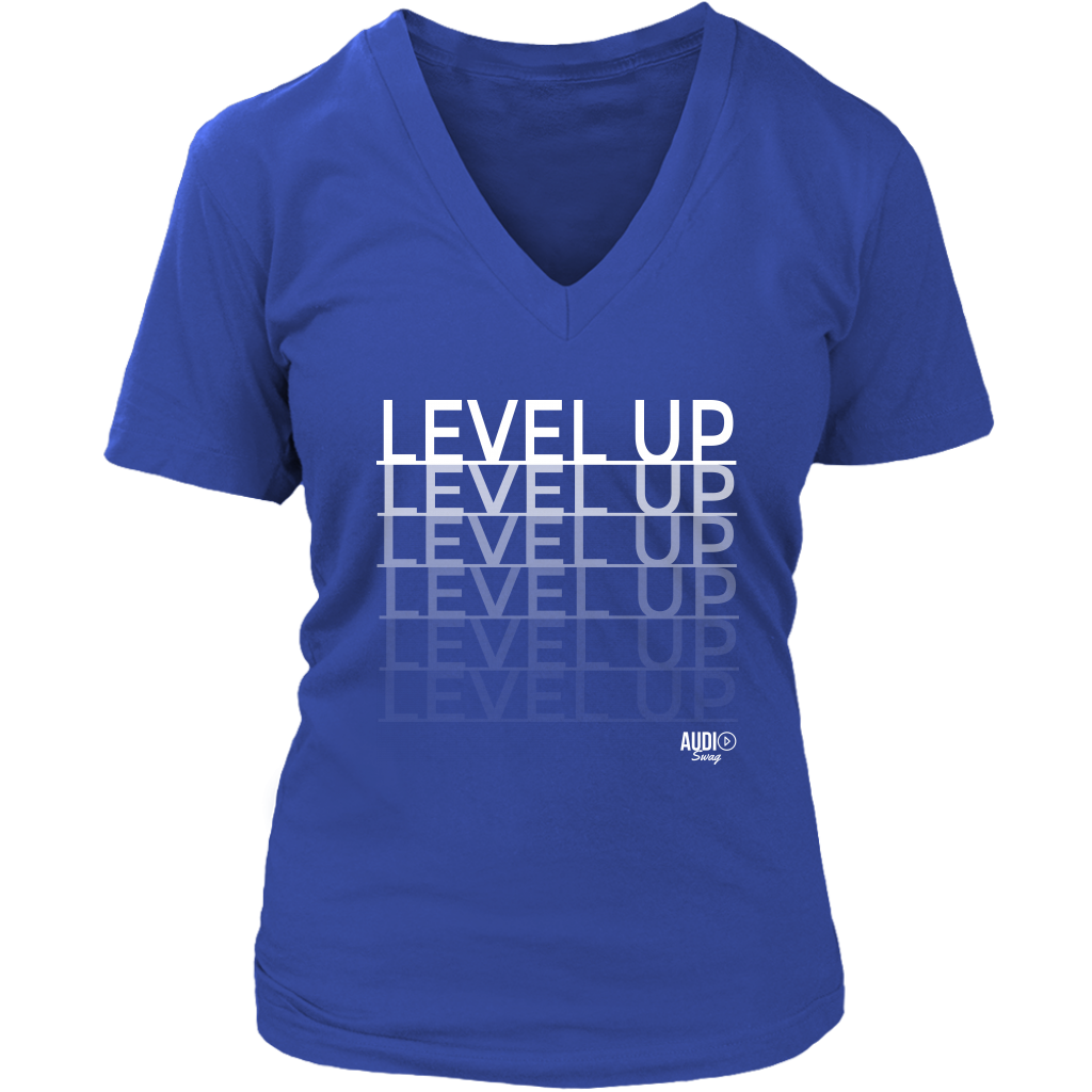 Level Up Fade Ladies V-neck T-shirt - Audio Swag