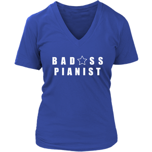 Bad@ss Pianist Ladies V- Neck Tee - Audio Swag