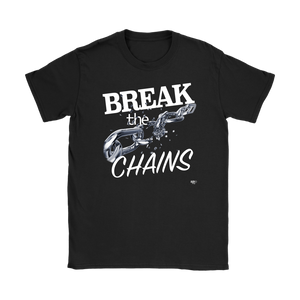 Break The Chains White Ladies T-shirt - Audio Swag