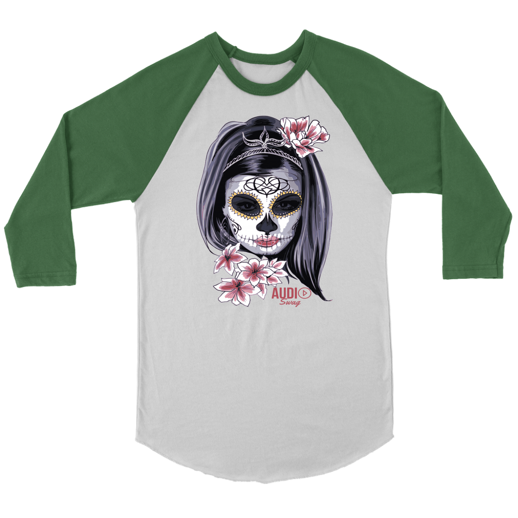 Day Of The Dead Woman Raglan - Audio Swag