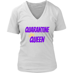 Quarantine Queen Ladies V-neck T-shirt - Audio Swag