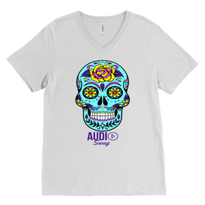Sugar Skull Rose Mens V-neck T-shirt