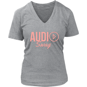 Audio Swag Peach Logo Ladies V- neck T-shirt - Audio Swag