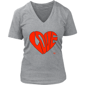 Love Heart Graphic Ladies V-neck T-shirt - Audio Swag