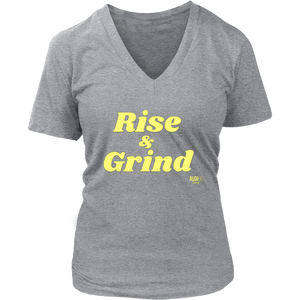 Rise and Grind Ladies V-neck T-shirt