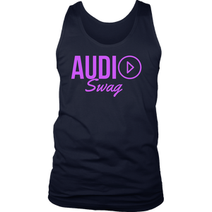 Audio Swag Fuschia Logo Mens Tank Top - Audio Swag
