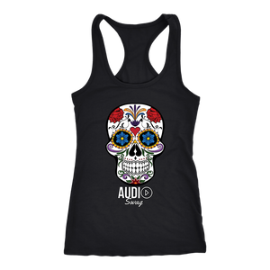Sugar Skull Audio Swag Ladies Racerback Tank Top - Audio Swag