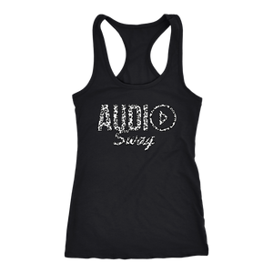 Audio Swag White Cheetah Logo Ladies Racerback Tank Top - Audio Swag