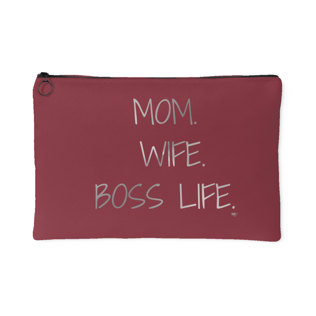 Mom. Wife. Boss Life. Large Accessory Pouch