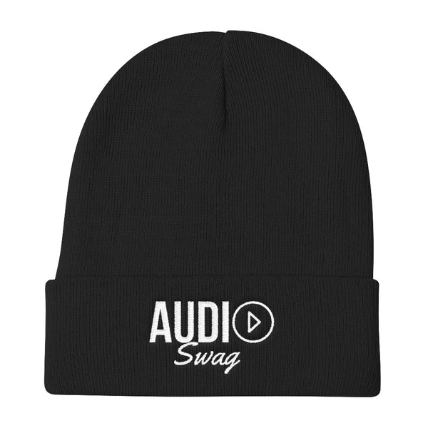 Audio Swag White Logo Knit Beanie - Audio Swag