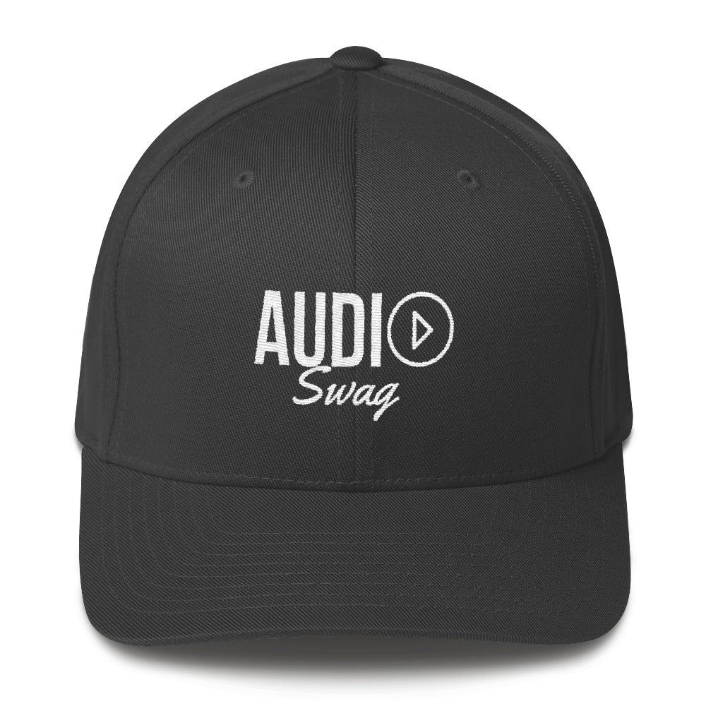 Audio Swag White Logo Dark Flexfit Structured Twill Cap - Audio Swag