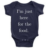 Just Here For The Food Baby Bodysuit - Audio Swag