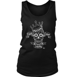 Faith Love Loyalty Skull Ladies Tank Top - Audio Swag