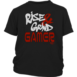 Rise & Grind Gamer Youth T-shirt - Audio Swag