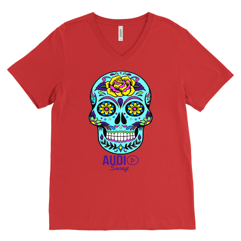Sugar Skull Rose Mens V-neck T-shirt - Audio Swag