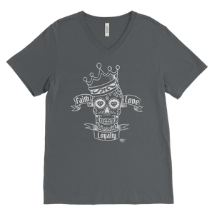 Faith Love Loyalty Skull Mens V-neck T-shirt - Audio Swag