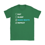 Eat Sleep Make Beats Repeat Ladies Tee - Audio Swag