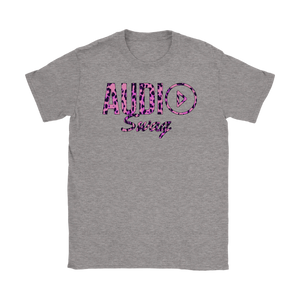 Audio Swag Pink Cheetah Logo Ladies T-shirt - Audio Swag