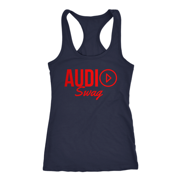 Audio Swag Red Logo Ladies Racerback Tank Top - Audio Swag