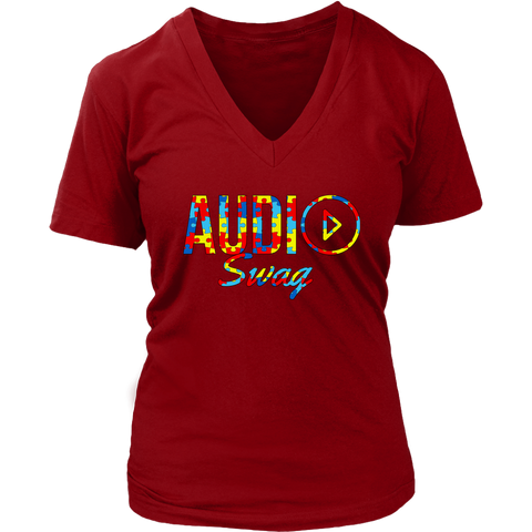 Audio Swag Autism Awareness Puzzle Logo Ladies V-neck T-shirt - Audio Swag