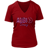Audio Swag Pink Cheetah Logo Ladies V-neck T-shirt - Audio Swag