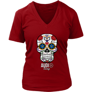 Sugar Skull Audio Swag Ladies V-neck T-shirt - Audio Swag