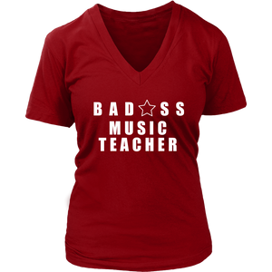 Bad@ss Music Teacher Ladies V-Neck Tee - Audio Swag