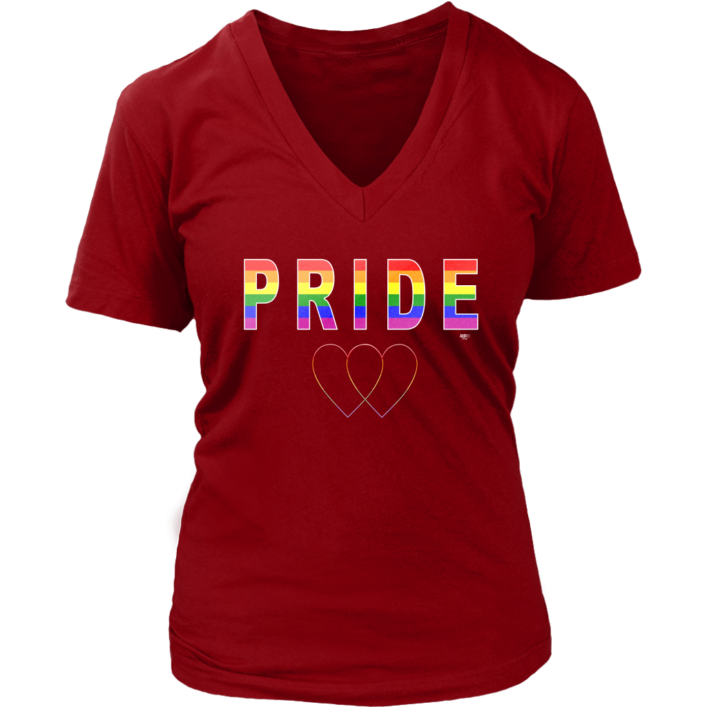 Pride Love Is Love Ladies V-Neck Tee - Audio Swag
