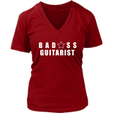 Bad@ss Guitarist Ladies V-Neck Tee - Audio Swag