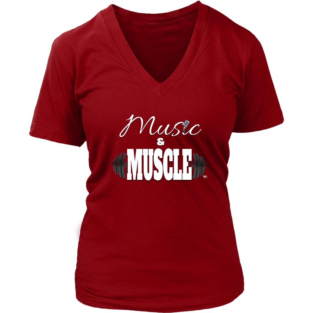 Music & Muscle Ladies V-neck T-shirt - Audio Swag