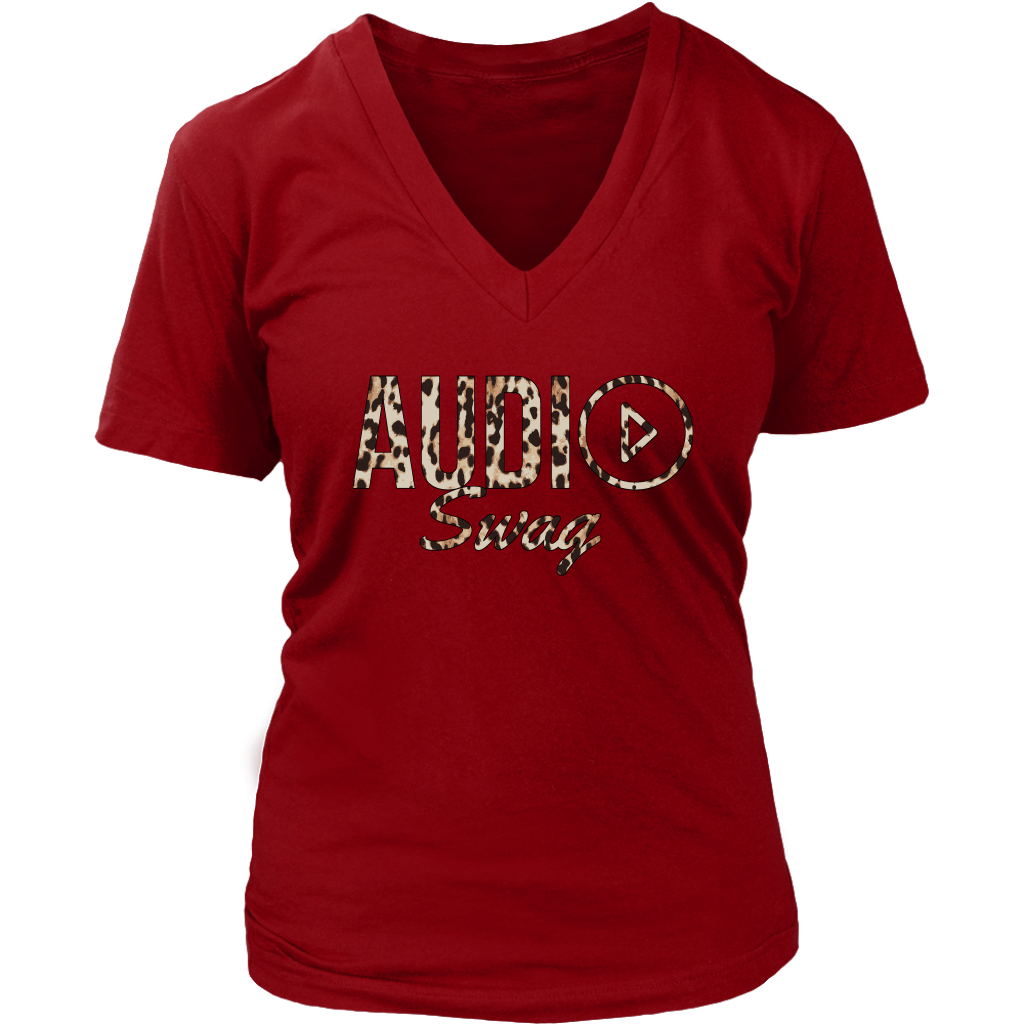 Audio Swag Leopard Logo Ladies V-neck T-shirt - Audio Swag
