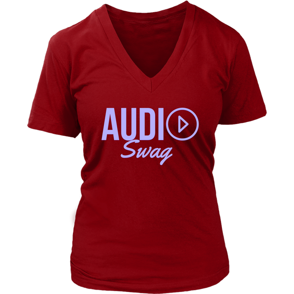 Audio Swag Lavender Logo Ladies V-neck T-shirt - Audio Swag
