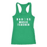 Bad@ss Music Teacher Ladies Racerback Tank Top