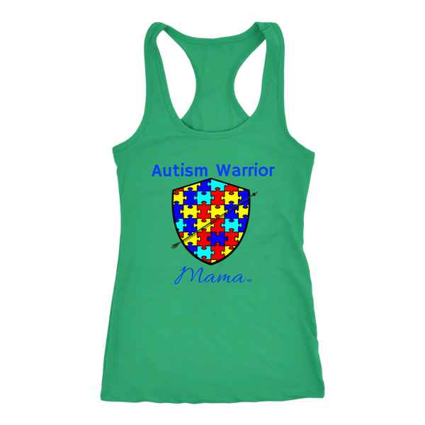 Autism Warrior Mama Ladies Racerback Tank Top - Audio Swag
