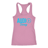 Audio Swag Blue Logo Ladies Racerback Tank Top - Audio Swag