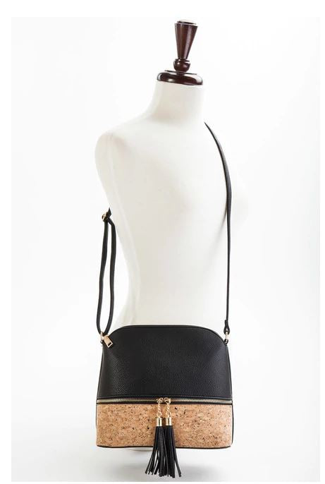 Cork Bottom Tassel Crossbody