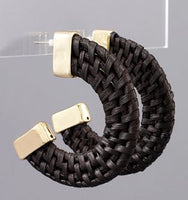 Rattan Woven Open Hoop Earrings