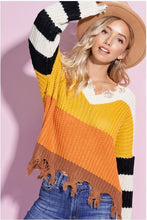 Load image into Gallery viewer, **SALE ~ Amber Color Block Raw Hem Sweater