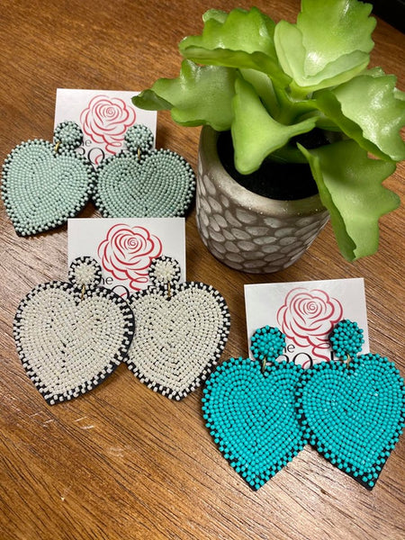 Bead Heart Earrings