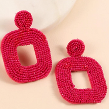 Load image into Gallery viewer, Seed Beads Square Dangling Earrings