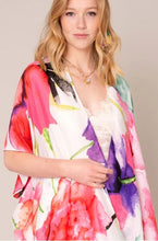 Load image into Gallery viewer, Watercolor Floral Print Tassels Kimono
