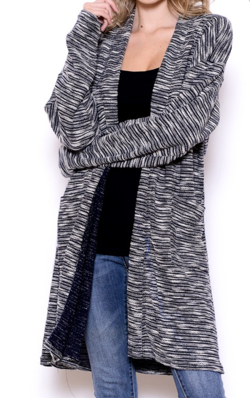 THE KNIT LONG BODY CARDI G W/POCKETS
