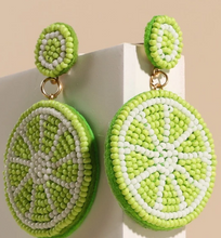 Load image into Gallery viewer, Lime Seed Beaded Dangling Earrings