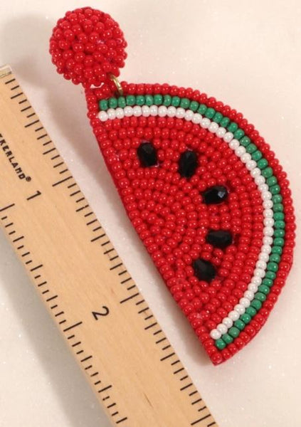 Watermelon Seed Beaded Dangling Earrings