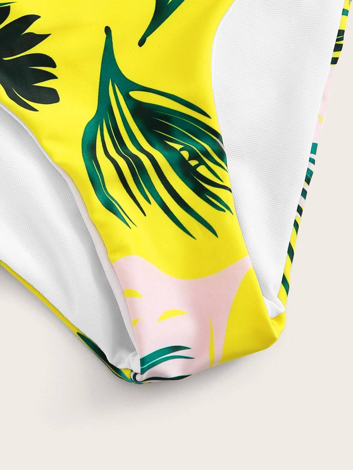 Tropical Print Bustier Top With Cut Side Bikini Set