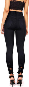 Zoe Juniors High Rise Jeans w Heavy Distressing in Black